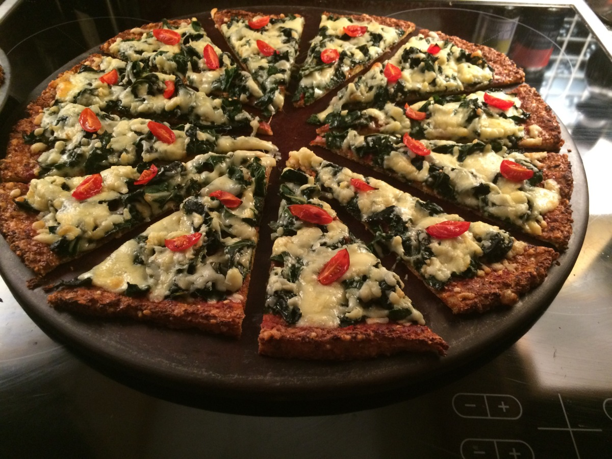 Spinach Cauliflower Pizza
